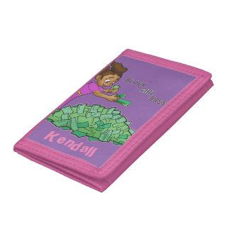 名前とカスタマイズ黒い女の子のボスのピンクの財布