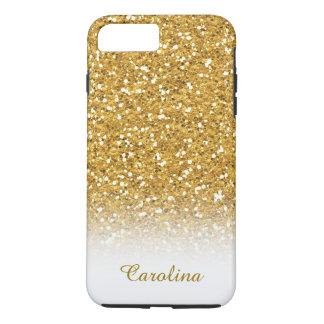 名前と名前入りな白および金ゴールドのグリッター iPhone 8 PLUS/7 PLUSケース