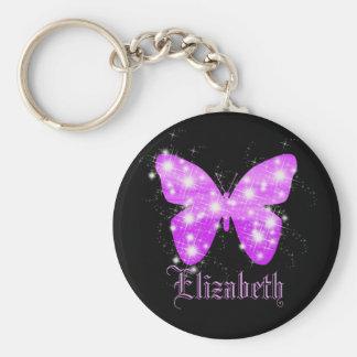名前と名前入りな紫色の蝶および星 キーホルダー