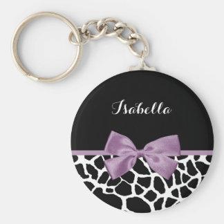 名前のかわいいキリンのプリントのラベンダーの紫色の弓 キーホルダー