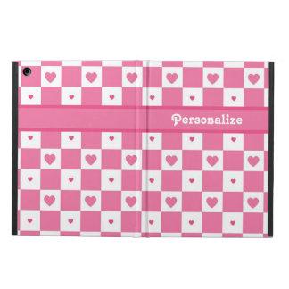 名前のかわいいピンクおよび白いハートのかわいらしい正方形 iPad AIRケース