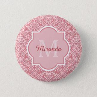 名前のかわいらしいピンクのダマスク織パターンモノグラム 5.7CM 丸型バッジ