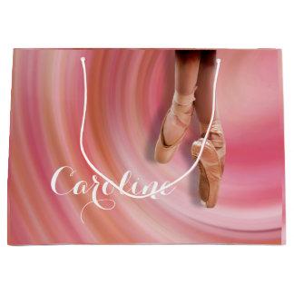 名前のつま先靴のバレエダンサー ラージペーパーバッグ