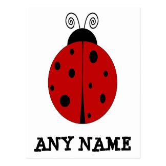 名前のてんとう虫のデザインによってカスタマイズ郵便はがき ポストカード