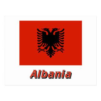 名前のアルバニアの旗 ポストカード