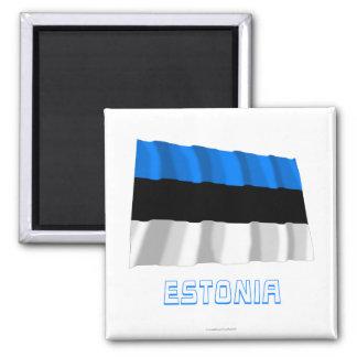 名前のエストニアの振る旗 マグネット
