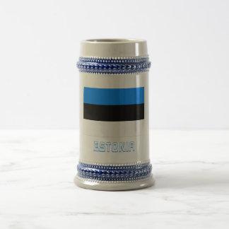 名前のエストニアの旗 ビールジョッキ