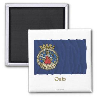 名前のオスロの振る旗 マグネット