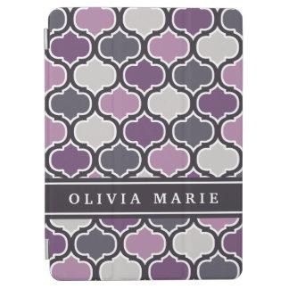 名前のカラフルな紫色の格子パターン iPad AIR カバー