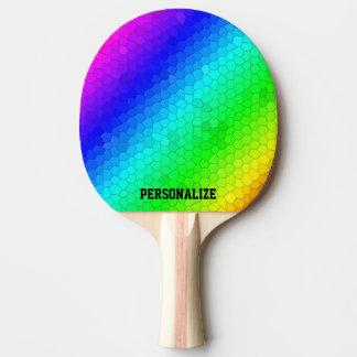 名前のカラフルな虹のモザイク卓球ラケット 卓球ラケット