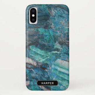 名前のクールな青の抽象芸術の大理石パターン iPhone X ケース