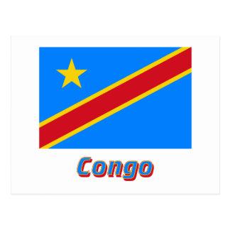 名前のコンゴの民主共和国の旗 ポストカード