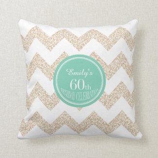 名前のシェブロン第60の誕生祝いの枕 クッション