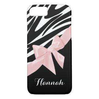 名前のシマウマのストライプな、ピンクの弓 iPhone 8/7ケース