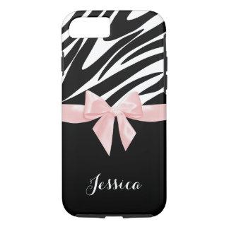 名前のシマウマのストライプのピンクの弓 iPhone 8/7ケース