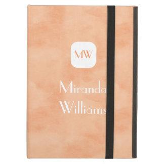 名前のシンプルで、シックなモモのオレンジモノグラム iPad AIRケース