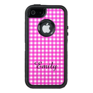 名前のシンプルな基本的なショッキングピンクのギンガムパターン オッターボックスディフェンダーiPhoneケース