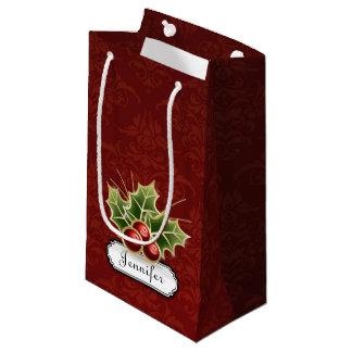 名前のダマスク織パターンの輝くなヒイラギの果実 スモールペーパーバッグ