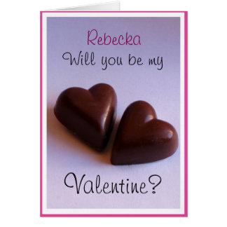 名前のバレンタインチョコレートハート文字 カード