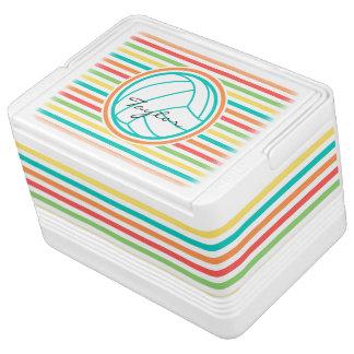 名前のバレーボール; 明るい虹は縞で飾ります 缶クーラー