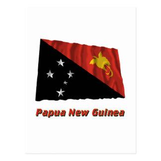 名前のパプアニューギニアの振る旗 ポストカード