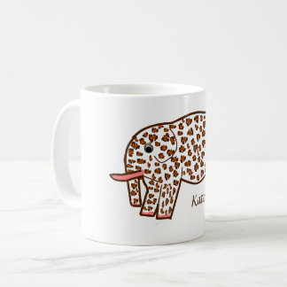 名前のヒョウのプリント象のマグ コーヒーマグカップ