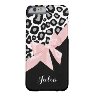 名前のヒョウの点そしてピンクの弓 iPhone 6 ベアリーゼアケース