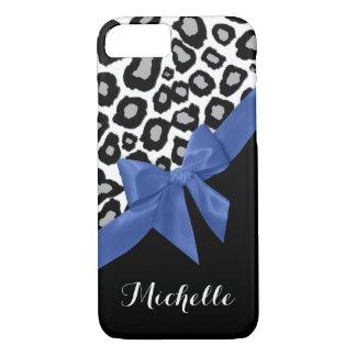 名前のヒョウの点そして青い弓 iPhone 7ケース
