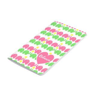 名前のピンクおよび緑象パターン ポケットジャーナル