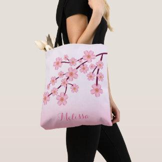 名前のピンクの桜の桜の花の枝 トートバッグ