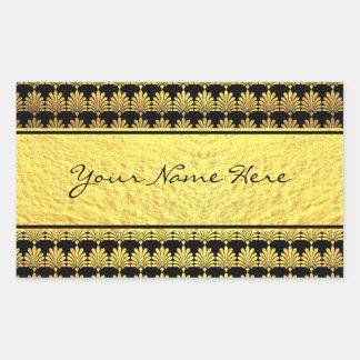 名前のファンシーで模造のな金ゴールドのアールデコ 長方形シール