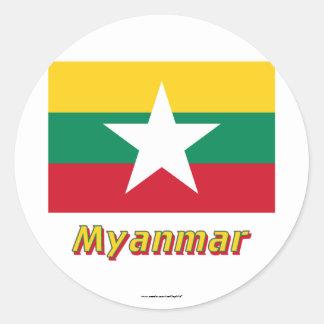 名前のミャンマーの旗 ラウンドシール