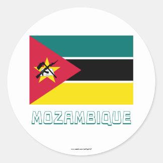 名前のモザンビークの旗 ラウンドシール