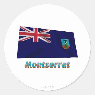名前のモンセラートの振る旗 丸形シールステッカー