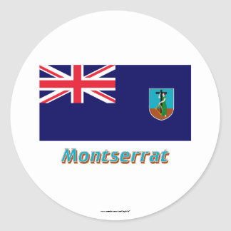 名前のモンセラートの旗 ラウンドシール