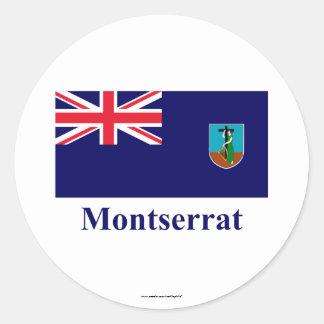 名前のモンセラートの旗 丸型シール