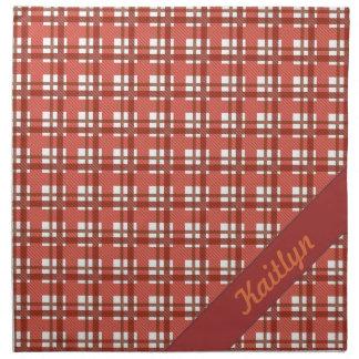 名前のルビー色の赤いパステル調のタータンチェックパターンの陰 ナプキンクロス