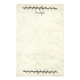 名前のヴィンテージのつる植物のボーダー古書の紙 便箋