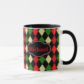名前の休日の道化師の幾何学的なパターン マグカップ