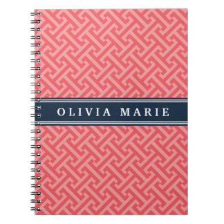 名前の傾けられたスイカのピンクのギリシャの主パターン ノートブック