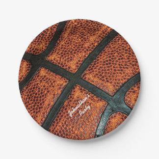 名前の古いレトロのバスケットボールパターン ペーパープレート