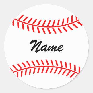 名前の名前入りな野球のステッカー|の球 ラウンドシール