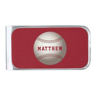 名前の名前入りな野球のスポーツのデザイン シルバー マネークリップ