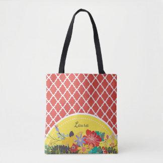 名前の夏のフェスタの赤い花のクローバー トートバッグ