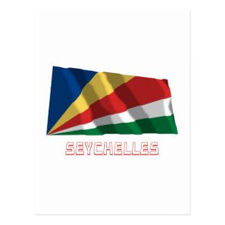 名前の旗を振るセイシェル ポストカード