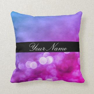 名前の明るい紫色、青い、ピンクの《写真》ぼけ味ライト クッション