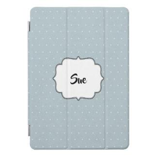 名前の淡いブルーそして水玉模様 iPad PROカバー