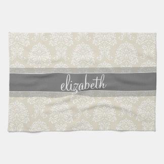 名前の灰色およびリネンヴィンテージのダマスク織パターン キッチンタオル