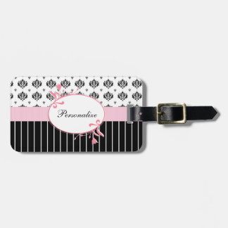 名前の白黒ダマスク織のシックなピンクの花柄 ラゲッジタグ