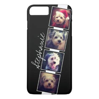 名前の白黒写真のコラージュの正方形 iPhone 8 PLUS/7 PLUSケース